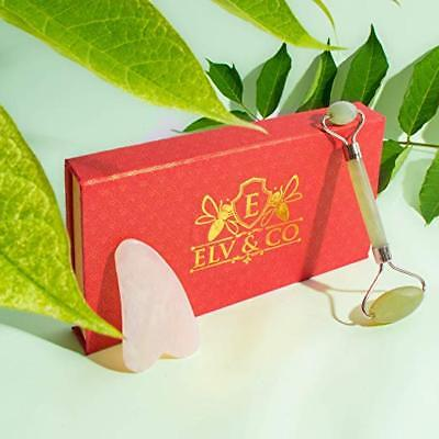 Jade Roller and Gua Sha Natural Stone Face Massager Kit   Best Chi Anti Aging