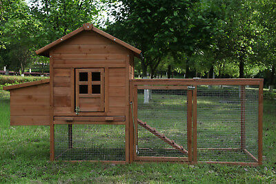 80'' Wooden Chicken Coop Rabbit Pet Hutch Poultry  Enclosure Rectangle Run Cage