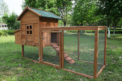 120'' Wooden Chicken Coop Hen House Poultry Pet Hutch Nest Box Run Ramp Large