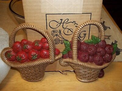 Home Interiors Set of 2 Berry Baskets Plaques New In Box