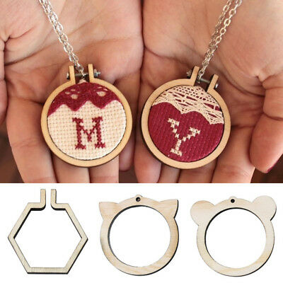Creative DIY Mini Wooden Cross Stitch Embroidery Hoop Ring Frame Fixed Gift