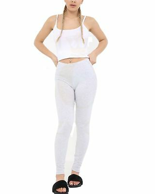 Ladies Light Grey Full Length Cotton Leggings Womens Fancy Stretchy Party Pants