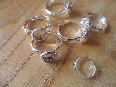 5 x 8mm Silver Adjustable pad ring bases & 8mm Cabochons~Ring Making Kit