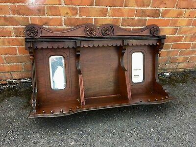 Antique Oak carved overmantel - hall mirror #1962LC