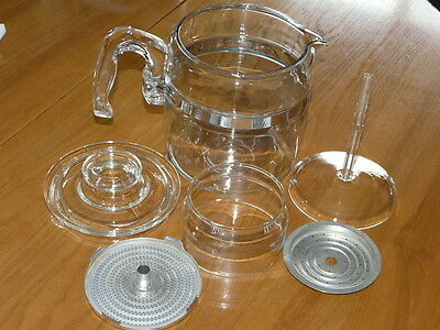 Vintage Pyrex Flameware Stovetop 7756 B  6 Cup Coffee Percolator - Complete
