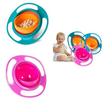 2xBaby Kid Children Food Gyro Bowl Dishes 360 Rotate Spill-Proof Bowl Dishes