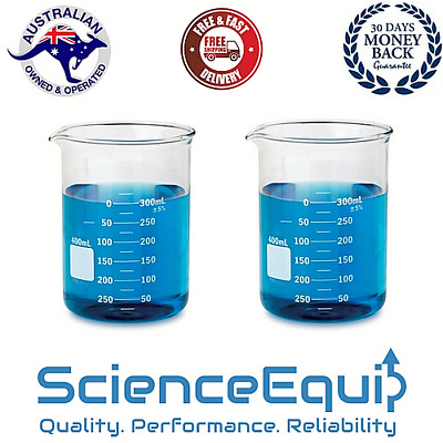 Research Grade Glass Beaker Kit Graduated, 50 100 250 500 & 1000 ml, 5 in a Pack