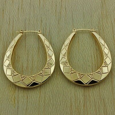 Uk Hallmarked 9ct Gold Large Textured Creole Hoop Earrings Rrp 130 Jc17