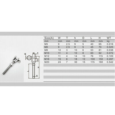 Stainless Steel Turnbuckle Bottle Screw Jaw Open Bolt with Nut M12 M16