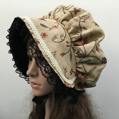 LADIES GIRLS Victorian Tapestry BONNET Christmas School Oliver Regency Period