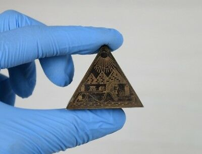 Vintage Small Egyptian Metal Pyramid Figurine Statue Four Etched Iconic Scenes