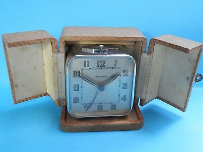 A very nice 1920,s all chrome fancy travel alarm carriage clock in box