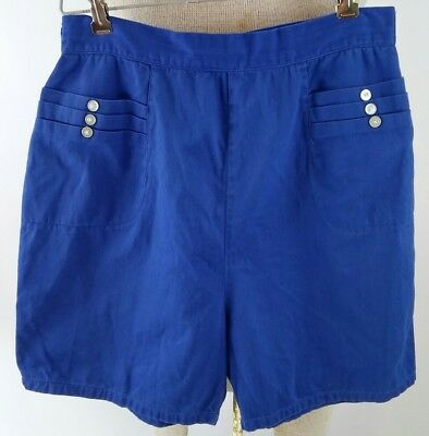 "Vintage 1950s Womens 27"" Waist VLV Pinup Rockabilly Blue Back Zipper Shorts"