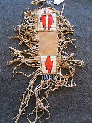 Quilled Beaded Knife Sheath, Parfleche Sheath,  Native American Indian Du-01233