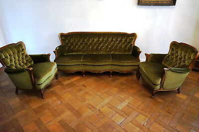 Antik Samt Sitzgarnitur Sessel Couch Chaiselounge Bank Stuhl Rare Set