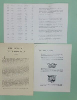 Lot of 1950's Cadillac press kit items/Penalty of Leadership/crest