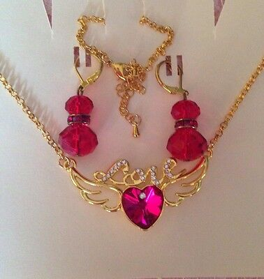 Gold Plt LOVE & Pink Crystal Heart Necklace&crystal Earings.