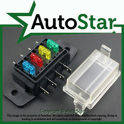 4 Way Mini Blade Fuse Box Holder ATM, APM Circuit  Motorbike Quad Bike Trike 12v