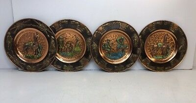 Wall Hanging Plate Beautiful Vintage Peruvian Copper Wall Hanging Plate Lot Of 4