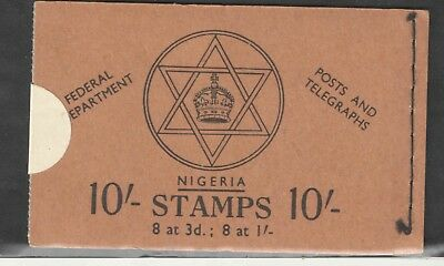 Nigeria  1953  SCARCE  10/ Unexploded Stamp Booklet Sewn on Right VF UMM MNH