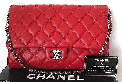 31b9b3e157c5 CHANEL Classic Red Leather CC Timeless ShoulderBag Short Chain Clutch NEW  Auth
