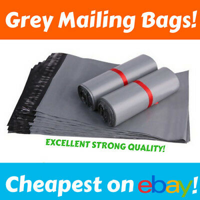 "GREY MAILING BAGS 17"" x 22"" Poly Plastic Mail Bag STRONG CHEAP Post Self Seal UK"