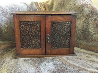 Antique Arts and Crafts Oak Smokers Cabinet - Victorian or may be Edwardian