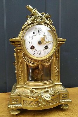 Antique French gilt bronze Louis XVI style mantle glass clock