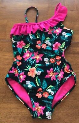 bb5b416723 Girls Circo One Piece Swimsuit Size 7/8 VGUC Bright Floral with NEON Pink