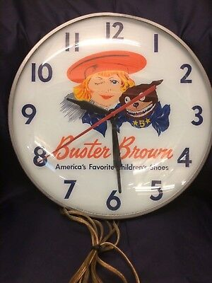 1940's Buster Brown Frankenclock Pam/Swihart Co. Advertising Lighted Wall Clock