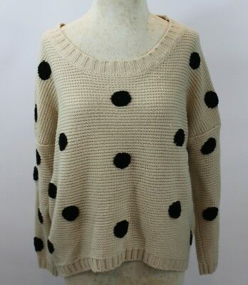 Urban Day Womens S/M Knit High Low Boxy Sweater Beige With Black Polka Dots