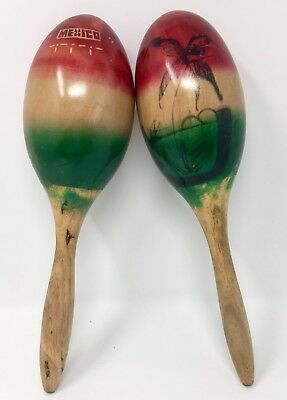 Pair of Vintage Red Green Hand Painted Tree Wood Mexico Mexican Moroccos 12''