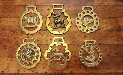 Vintage Lot of 6 Solid Brass Horse Medallions Goat Lion Dog Stag Virgo