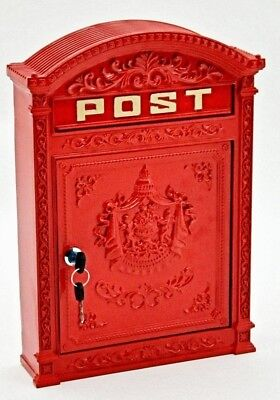 Wall Mounted Rustic Red Post Box wall letters mailbox Antique Cast Effect