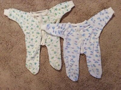 Vintage Infant/Doll Terry Footed Sleeper Outfits Lot of 2
