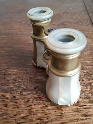 Antique Vintage Mother Of Pearl Jumelle Duchesse & Brass Gilt Opera Glasses