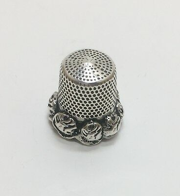 *RARE* Antique Vintage Sterling Silver Marked Rose Rim Thimble