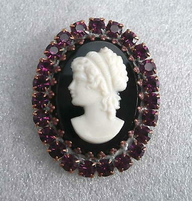 Vintage (1950's)  RHINESTONE ALL Glass Button (1 pc) #G384 - SIGNED - 41 mm