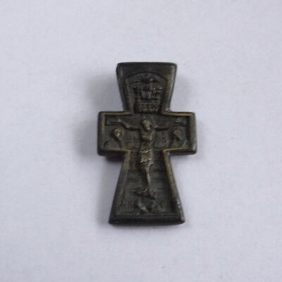 Russian Medieval Ancient Artifact Bronze Cross Double Sides