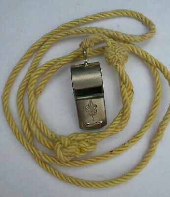 Vintage Old Boy Scout Whistle Official BSA Be Prepared Motto w Lanyard Cork Ball