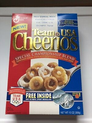"Vintage 1996 ""TEAM USA CHEERIOS"" Cereal Box U.S. OLYMPICS! RARE!"