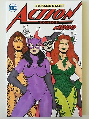 Dc Action Comics #1000 Original Art Sketch Cover Catwoman Poison Ivy Harley 1/1