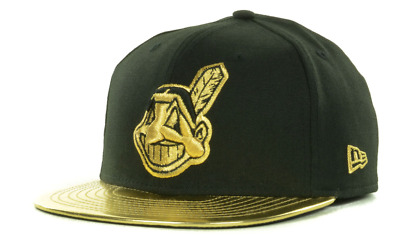 Cleveland Indians MLB Baseball Cap - New Era 59fifty Black/Gold