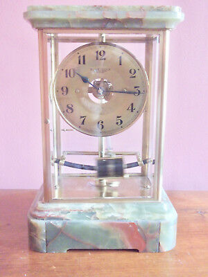 Vintage Bulle Clock Electro-Magnetic Variegated Marble & Brass Mantel Clock