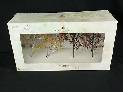 Department 56 Seasons Bay Autumn Trees Set of 4 EX Cond. CIB Complete in Box!