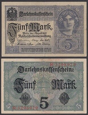 Banknote:   Ro. 54a,  5 Mark,  1.8.1917, Serie: R