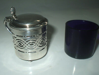 ANTIQUE HALLMARKED 1900 SILVER MUSTARD POT WITH BLUE GLASS LINER 30 grams