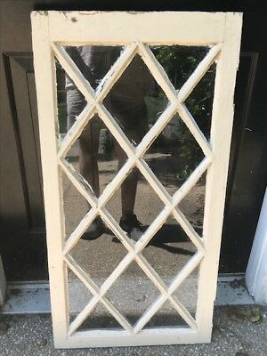 "Antique Diamond Pane Window Sash 36"" X 18"" X 1 1/2"" 17 Light"