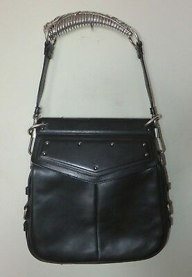 fb2cfb2736 Yves Saint Laurent YSL by Tom Ford Mombasa Black Leather Bag Silver Horn  Handle