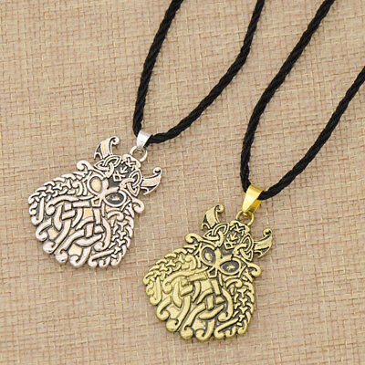 Gothic Retro Viking Warrior Pendant Chain Necklace Women Men Amulet Jewelry Gift